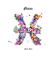 Pattern with butterflies cute zodiac sign - pisces vector image vector image
