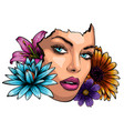 portrait young beautiful woman with flowers vector image vector image