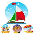 sail boat motor scooter beach umbrella and beach vector image vector image