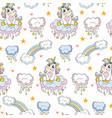seamless pattern cute baby unicorn white