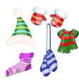 set knitted clothes with striped christmas vector image