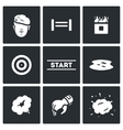 set of military training camp icons vector image