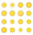 Set of sun icons isolated on white background vector image vector image