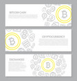 set of three digital money and bitcoin horizontal vector image vector image