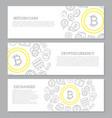 set three digital money and bitcoin horizontal vector image vector image