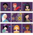 set with woman faces vector image vector image