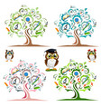 study the tree and cheerful owls set vector image
