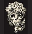 sugar skull girl vector image vector image