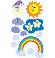 sun moon and weather collection vector image