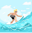 surfer chatacter surfboard ride water sea ocean vector image vector image