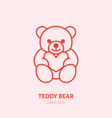 teddy bear plush flat line icon toy vector image vector image
