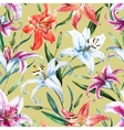 tropical watercolor lilly pattern vector image vector image