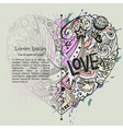 valentine card template with dodle graphic vector image vector image