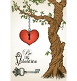 Valentine card with a heart hanging on tree and vector image