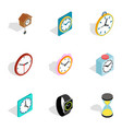 watches icons isometric 3d style vector image vector image