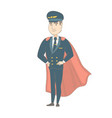 young caucasian pilot dressed as superhero vector image