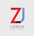zj logo letters with blue and red gradation vector image vector image