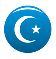 islamic crescent moon icon blue vector image