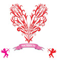 Heart love card valentine day background vector image