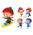 kids playing with snow and rain vector image