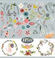 vintage doodle floral set vector image