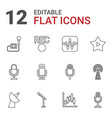 12 radio icons vector image vector image