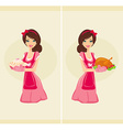 Beautiful Waitress serving chicken and cake vector image