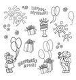 cartoon set of elements for the birthday vector image