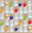 coffee cups tea cups and glasses of water seamless vector image