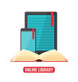 computer tablet and smartphone with book reader vector image