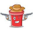 cowboy bucket character cartoon style vector image vector image