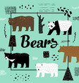 cute bears hand drawn design childish background vector image vector image