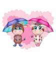 cute cartoon couple cow and bull with umbrellas vector image vector image