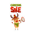 cute cartoon reindeer with megaphone and text vector image vector image