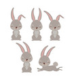 easter bunnies set in colorful silhouette vector image