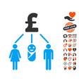 family pound budget icon with valentine bonus vector image