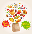 fast food advertising composition vector image vector image