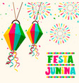 festa junina party card balloons and fireworks