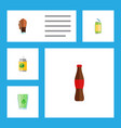 flat icon beverage set of drink cup soda and vector image
