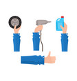 flat man hand holding items set vector image