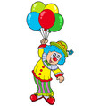 funny smiling clown with balloons vector image vector image