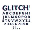 glitch font letter game digital pattern vector image vector image
