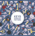 key seamless pattern house keys lock for vector image vector image