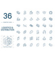 logistic and distribution isometric line icons 3d vector image vector image
