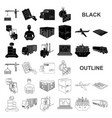 logistics and delivery black icons in set vector image vector image