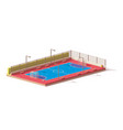 low poly futsal court vector image vector image