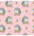 magic seamless pattern with unicorn butterflies vector image