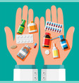 medicine collection in hands vector image vector image