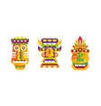 native american indian totem poles set colorful vector image vector image