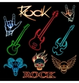 neon rock vector image